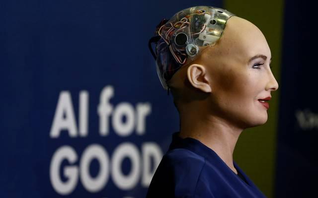 Robô Sophia durante evento na Arábia Saudita
